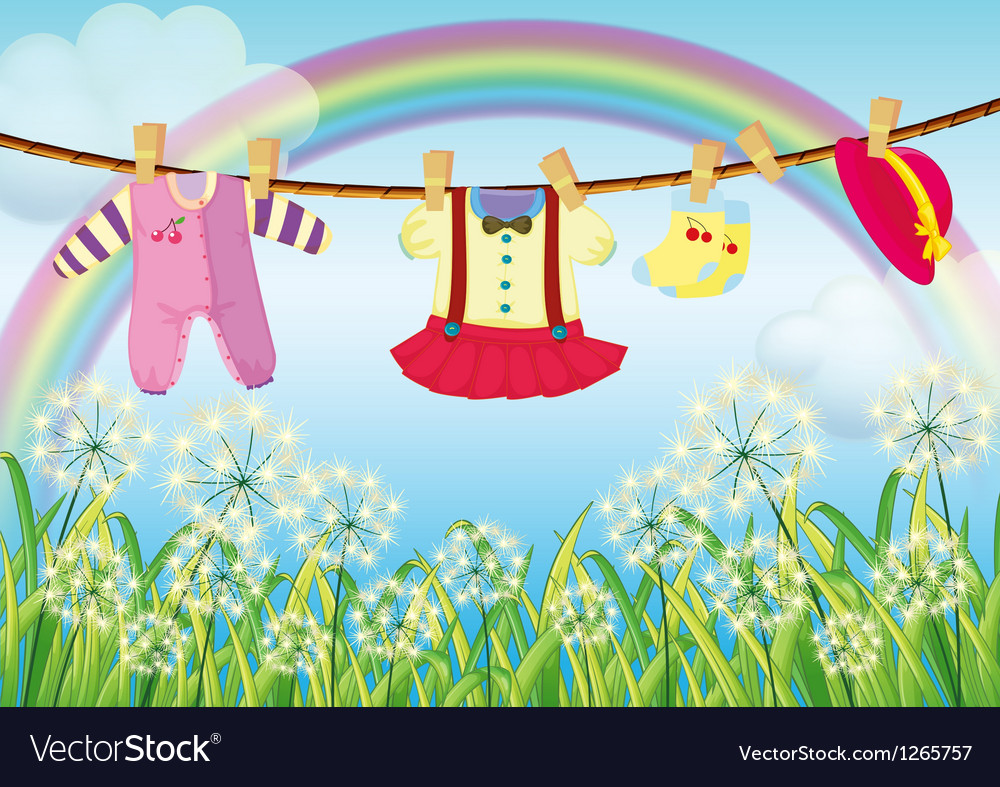 Kids clothes hanging near the grass vector | Price: 1 Credit (USD $1)