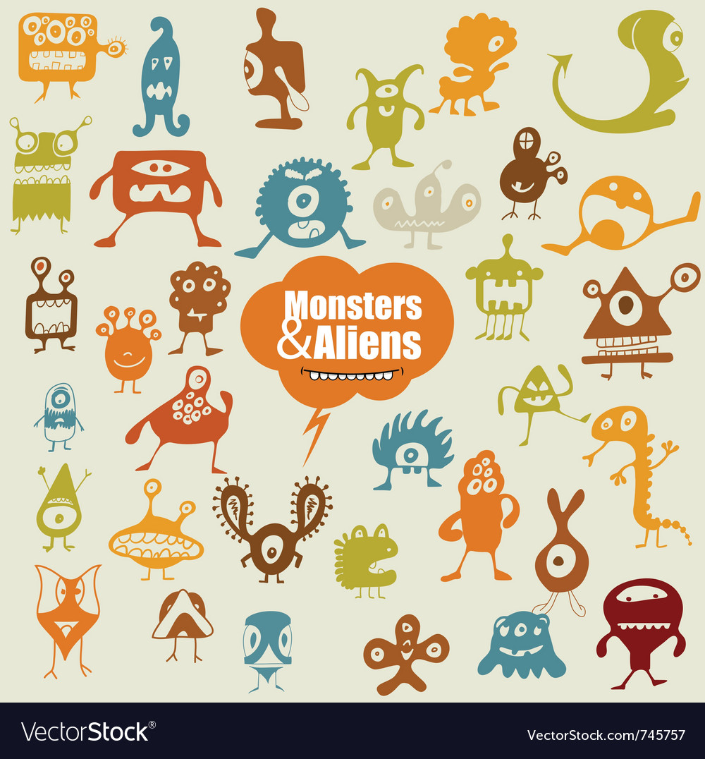 Many cute doodle monsters vector | Price: 1 Credit (USD $1)