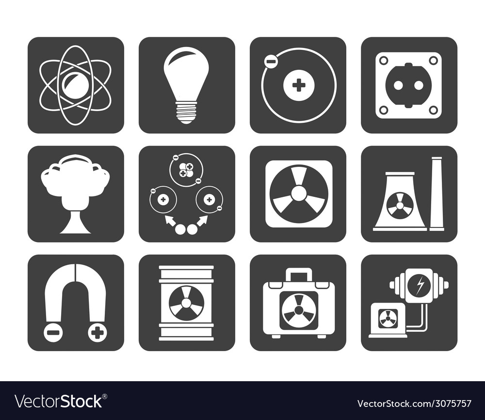 Silhouette atomic and nuclear energy icons vector | Price: 1 Credit (USD $1)