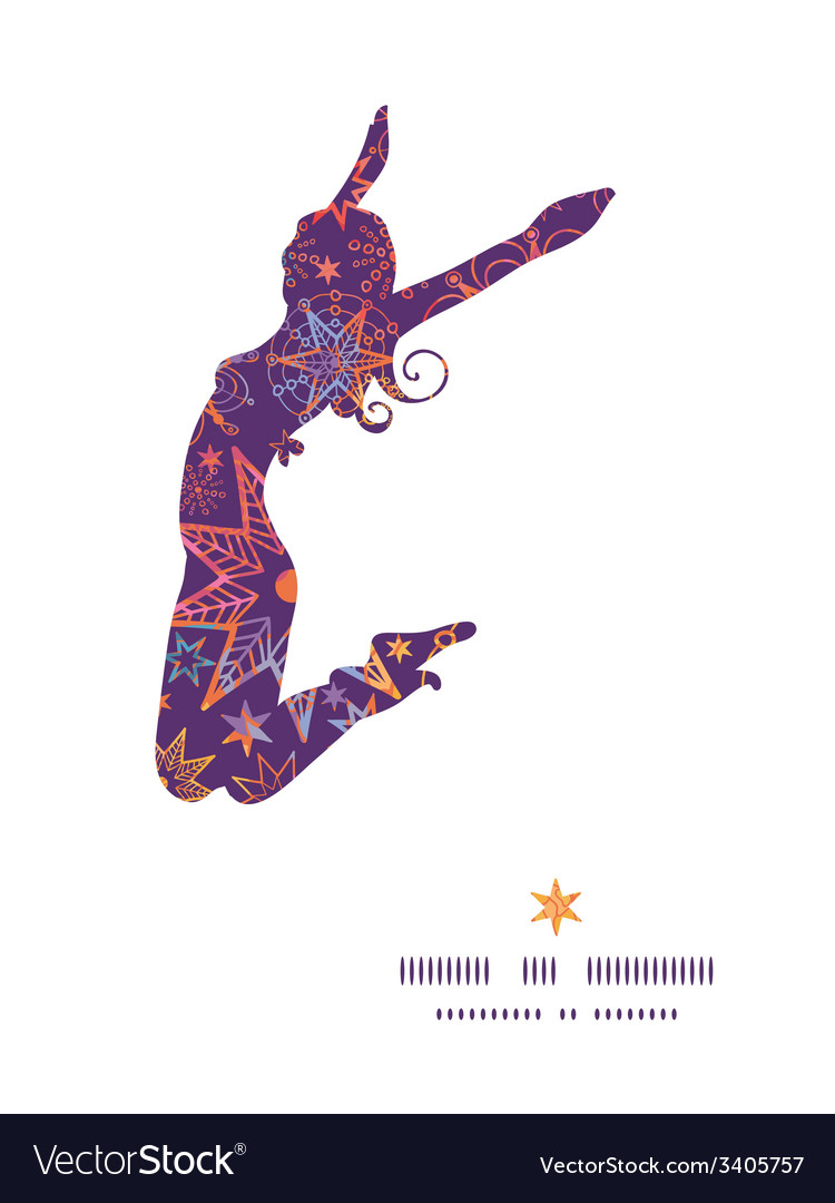 Textured christmas stars jumping girl silhouette vector | Price: 1 Credit (USD $1)