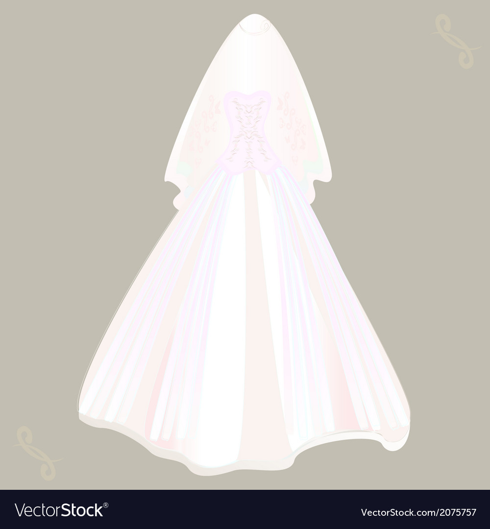 Wedding dress with veil vector | Price: 1 Credit (USD $1)
