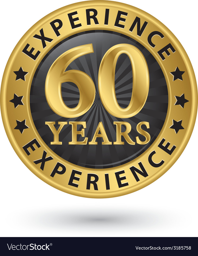 60 years experience gold label vector | Price: 1 Credit (USD $1)