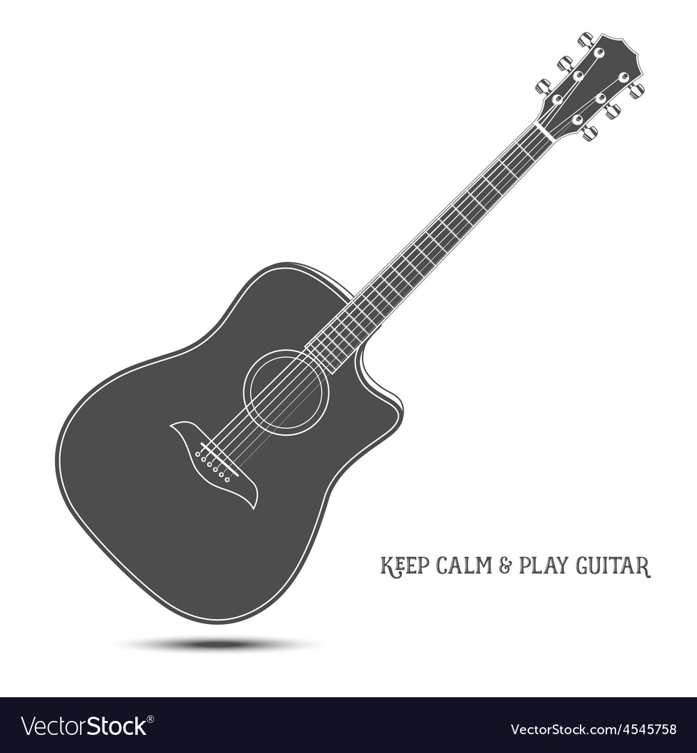 Acoustic guitar isolated keep calm and play vector | Price: 1 Credit (USD $1)