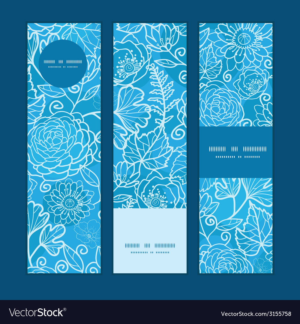 Blue field floral texture vertical banners set vector | Price: 1 Credit (USD $1)