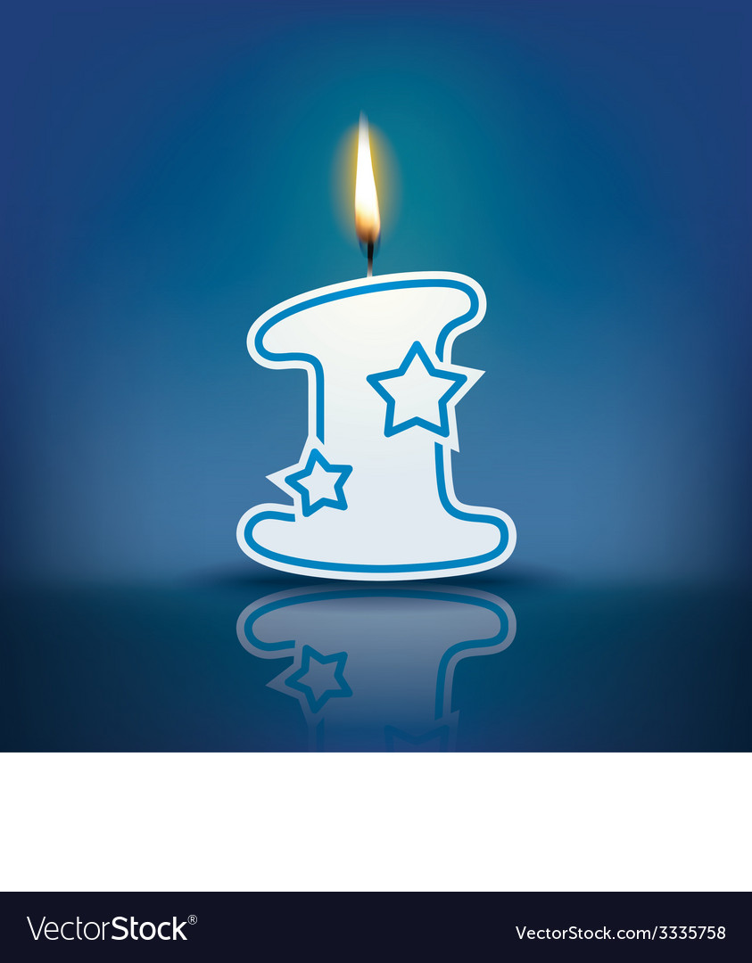 Candle number 1 with flame vector | Price: 1 Credit (USD $1)