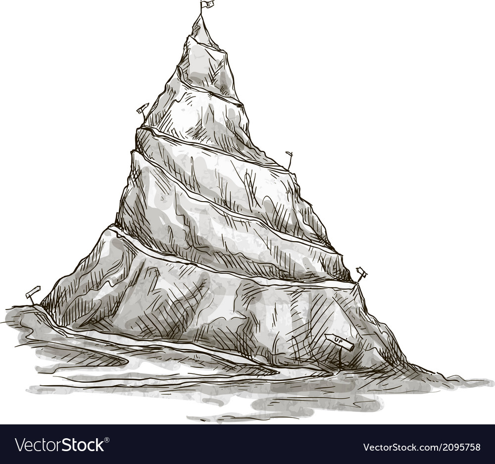 Hand drawn mountain mountain peak serpentine road vector | Price: 1 Credit (USD $1)