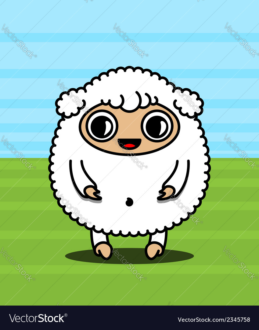 Kawaii sheep character vector | Price: 1 Credit (USD $1)