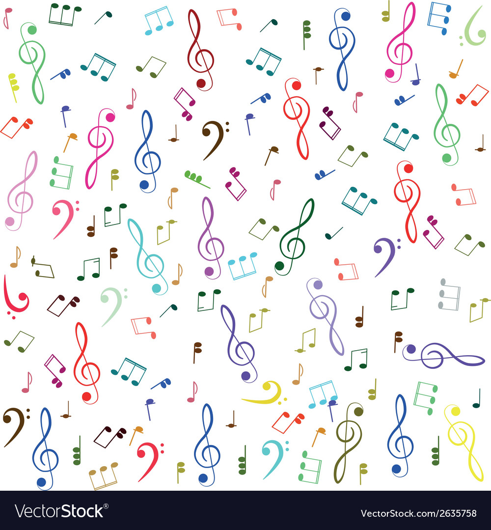 Music colorful treble clef and notes vector | Price: 1 Credit (USD $1)