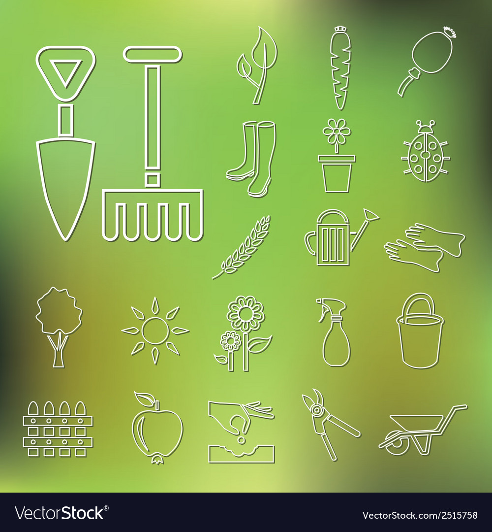 Outline garden icons vector | Price: 1 Credit (USD $1)