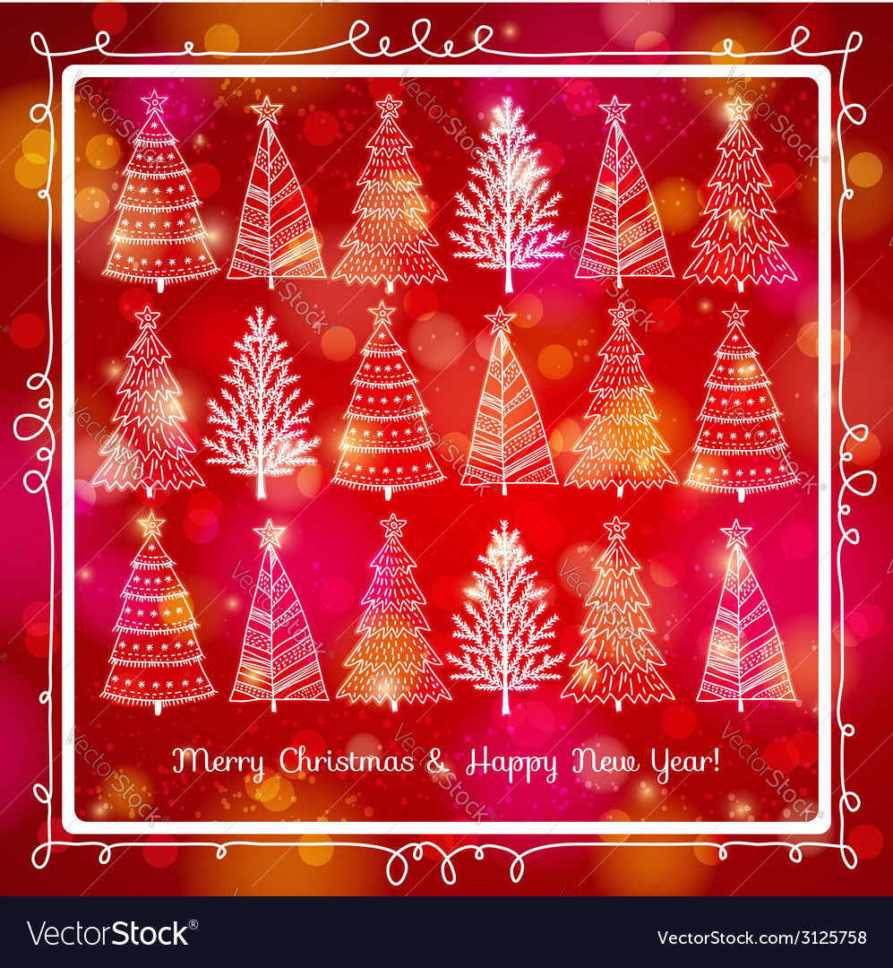 Red brightness background with forest of christmas vector   Price: 1 Credit (USD $1)