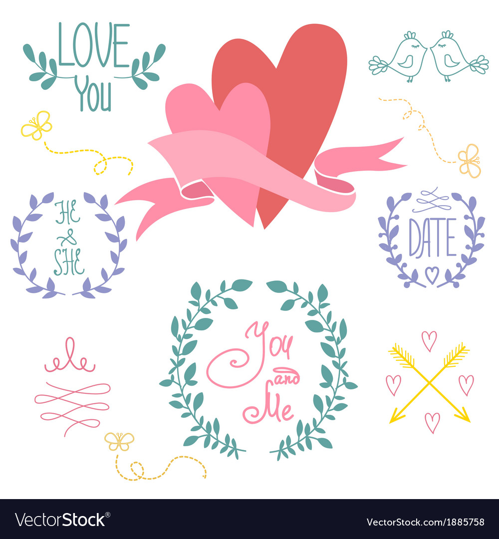 Wedding graphic set wreath flowers arrows vector | Price: 1 Credit (USD $1)