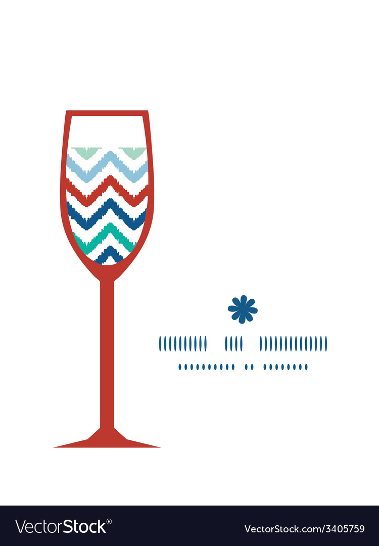 Colorful ikat chevron wine glass silhouette vector | Price: 1 Credit (USD $1)