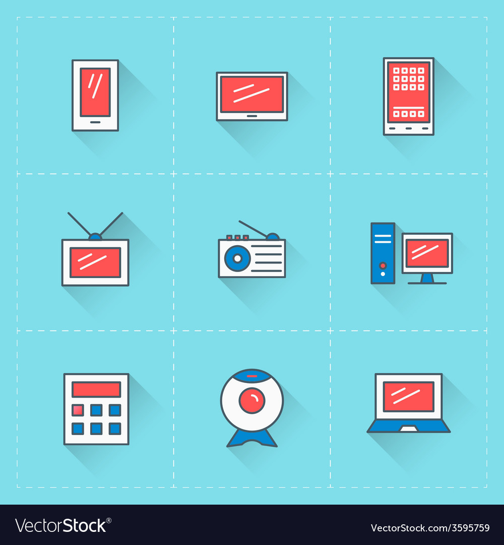 Computer and devices icons icon set in flat design vector