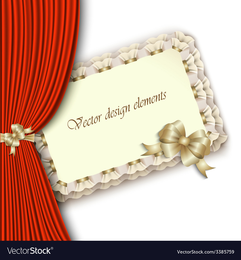 Elegant invitation with gold bow and red curtain vector | Price: 1 Credit (USD $1)