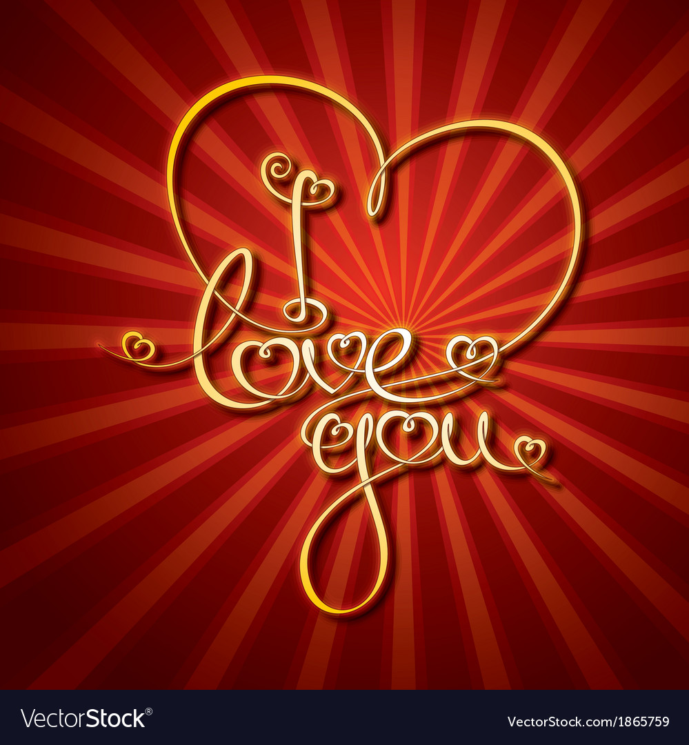 Glamorous gold i love you vector | Price: 1 Credit (USD $1)