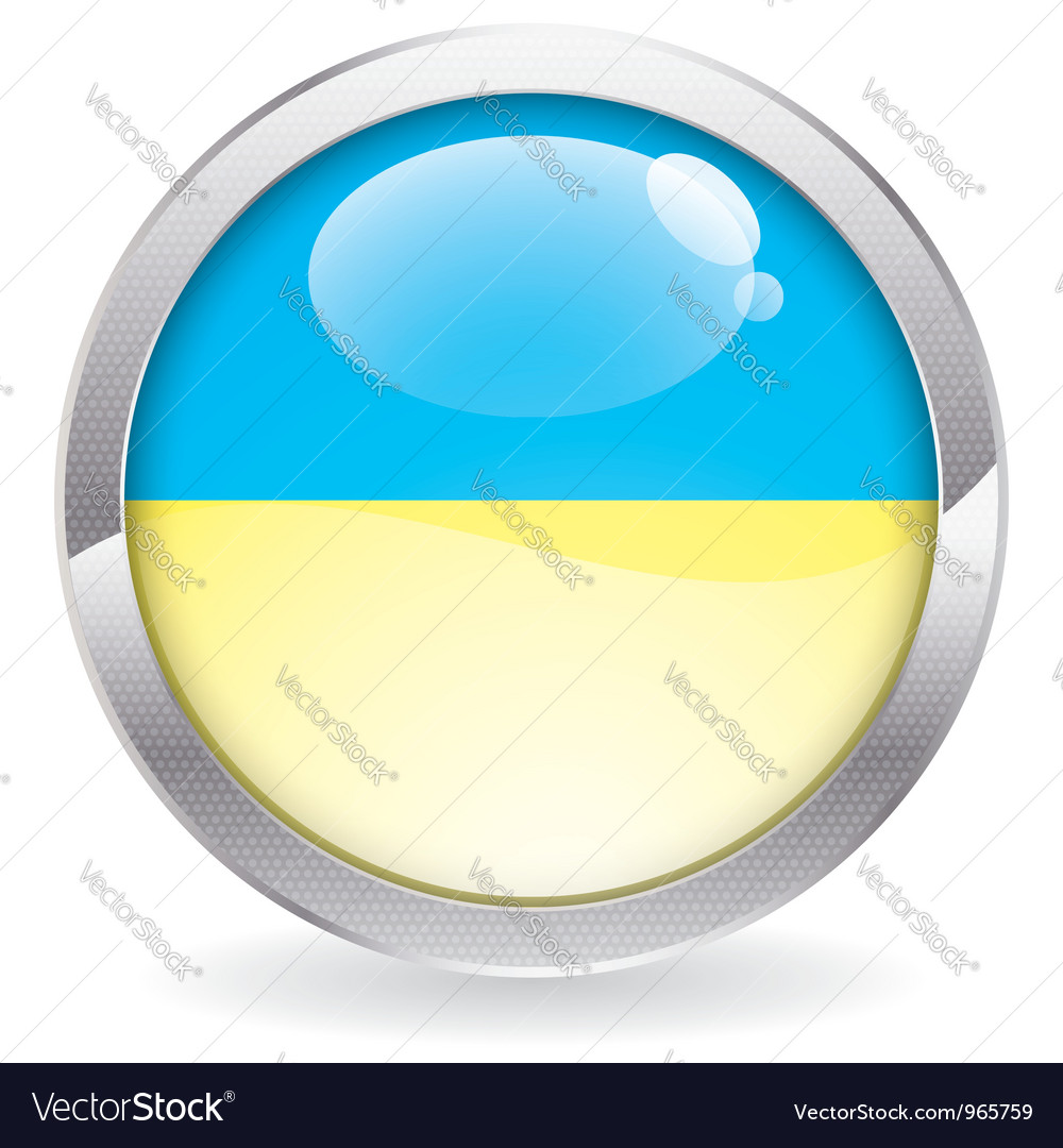 Gloss button with ukraine flag vector | Price: 1 Credit (USD $1)