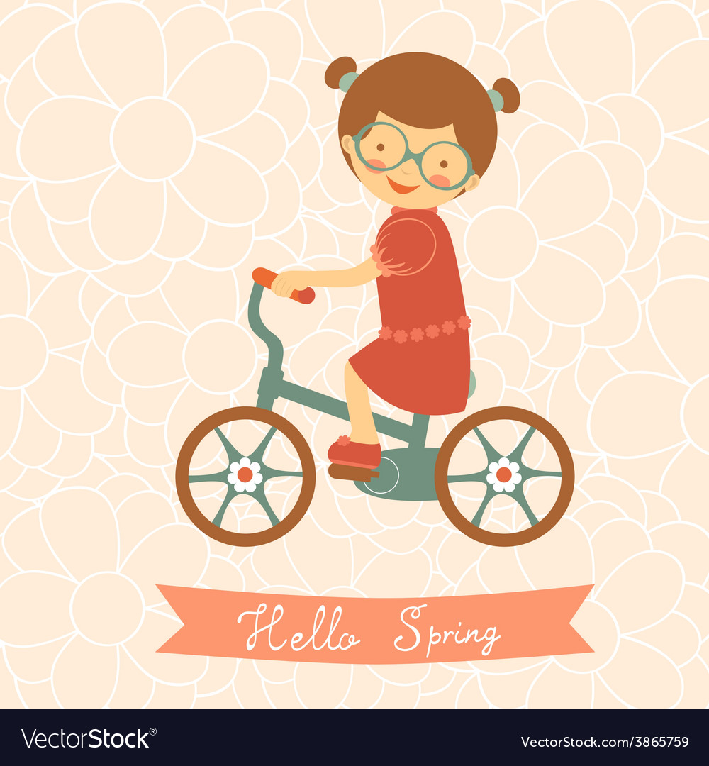 Hello spring card with cute little girl vector | Price: 1 Credit (USD $1)