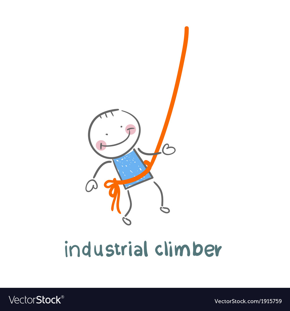 Industrial climber hanging on a rope vector | Price: 1 Credit (USD $1)