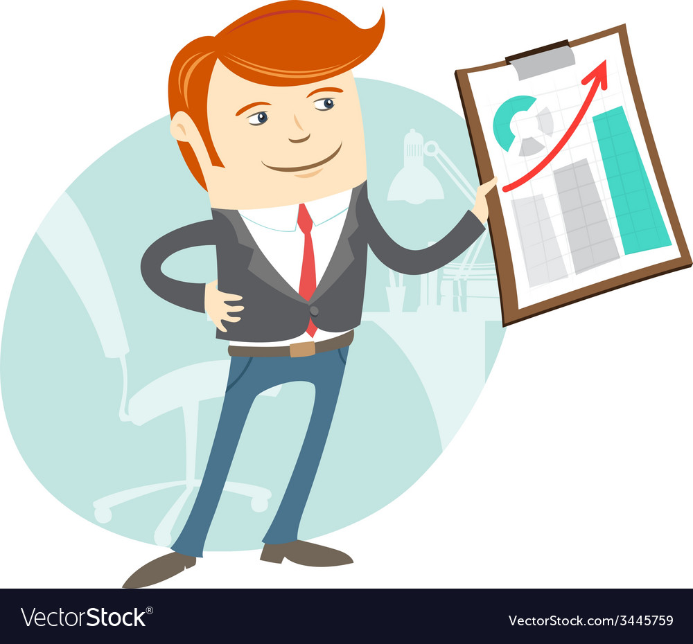 Office man showing a graph vector | Price: 1 Credit (USD $1)