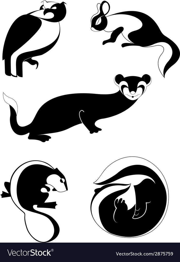 Original decor animal silhouettes collection vector | Price: 1 Credit (USD $1)