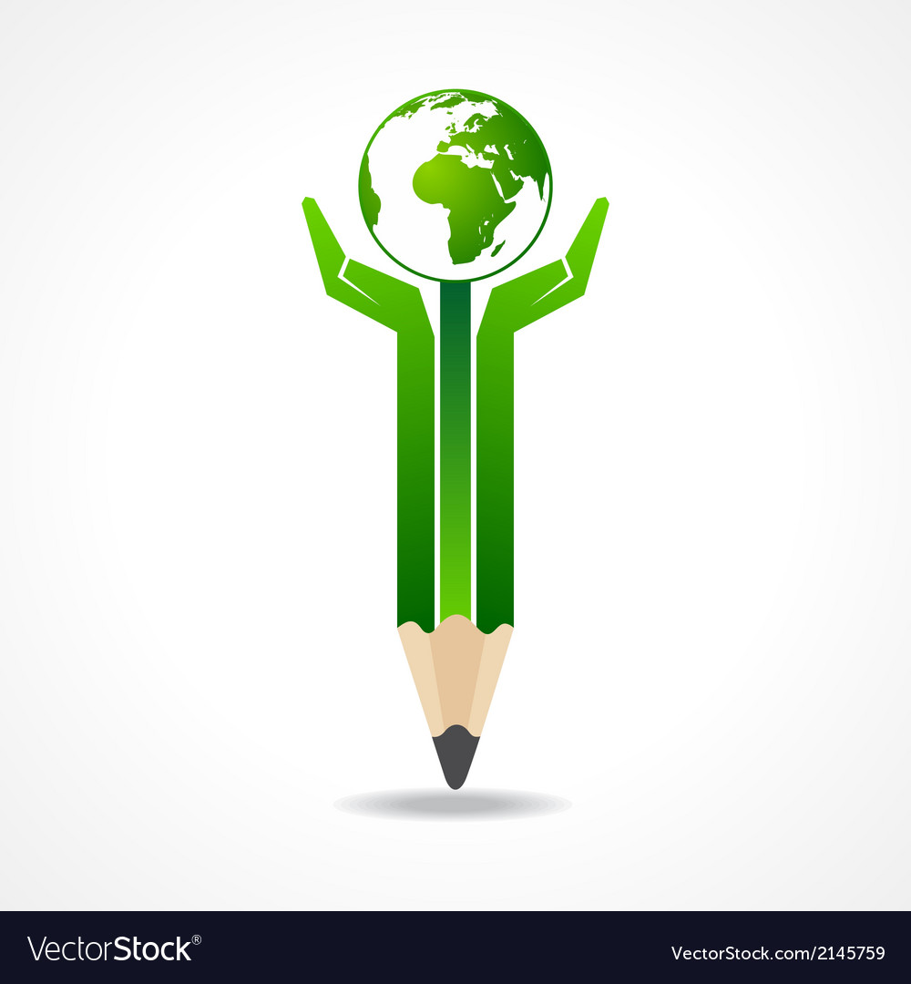 Save earth concept with pencil hands vector | Price: 1 Credit (USD $1)