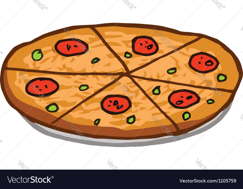 Sliced pepperoni pizza pie vector | Price: 1 Credit (USD $1)
