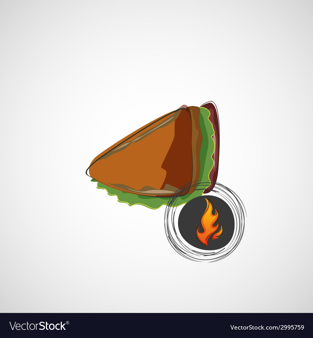 Tasty and juicy sandwich on a light design vector | Price: 1 Credit (USD $1)
