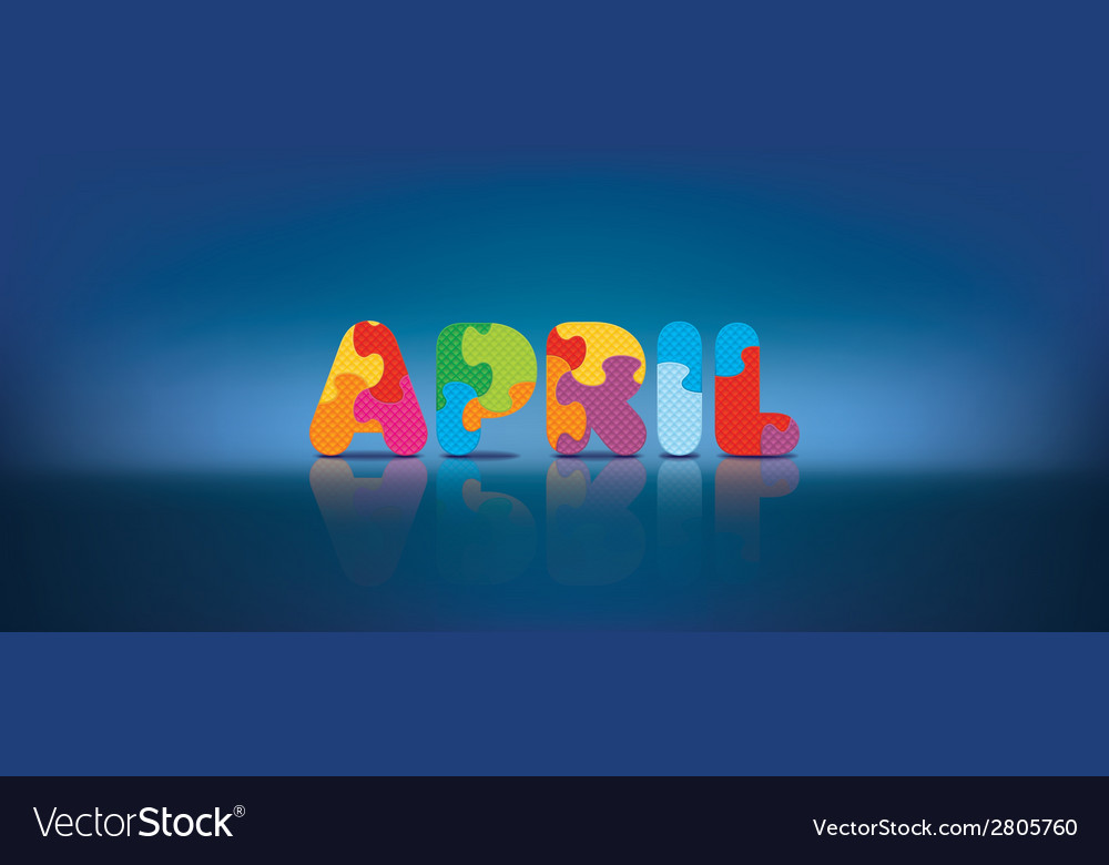 April written with alphabet puzzle vector | Price: 1 Credit (USD $1)