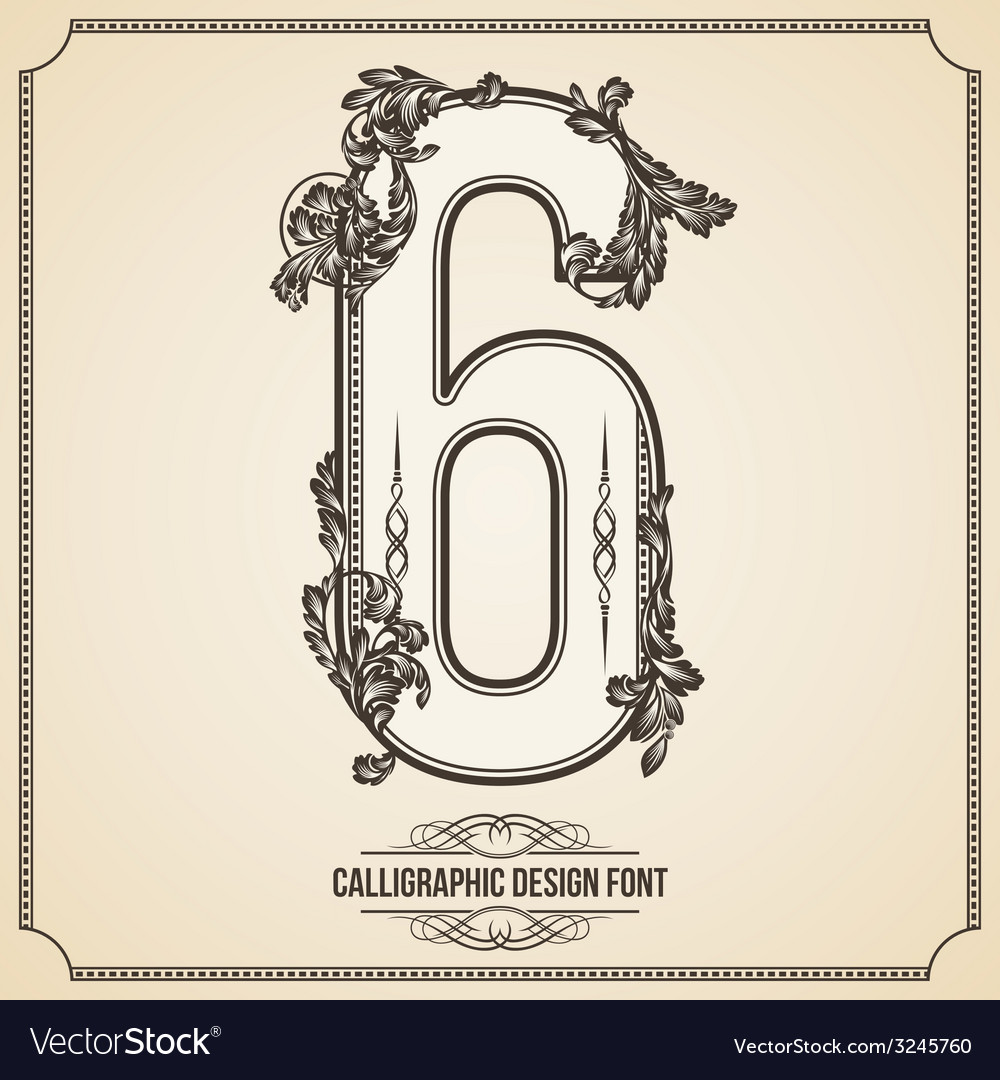Calligraphic font number 6 vector | Price: 1 Credit (USD $1)