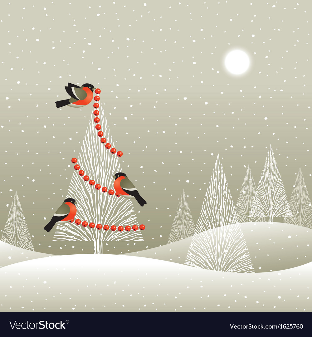 Christmas tree in winter forest vector | Price: 1 Credit (USD $1)