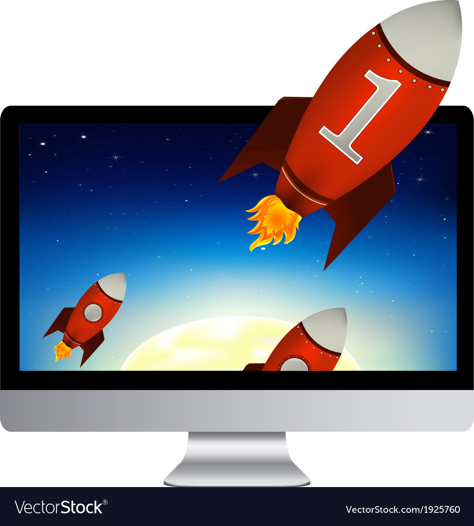 Computer with red rockets vector | Price: 1 Credit (USD $1)