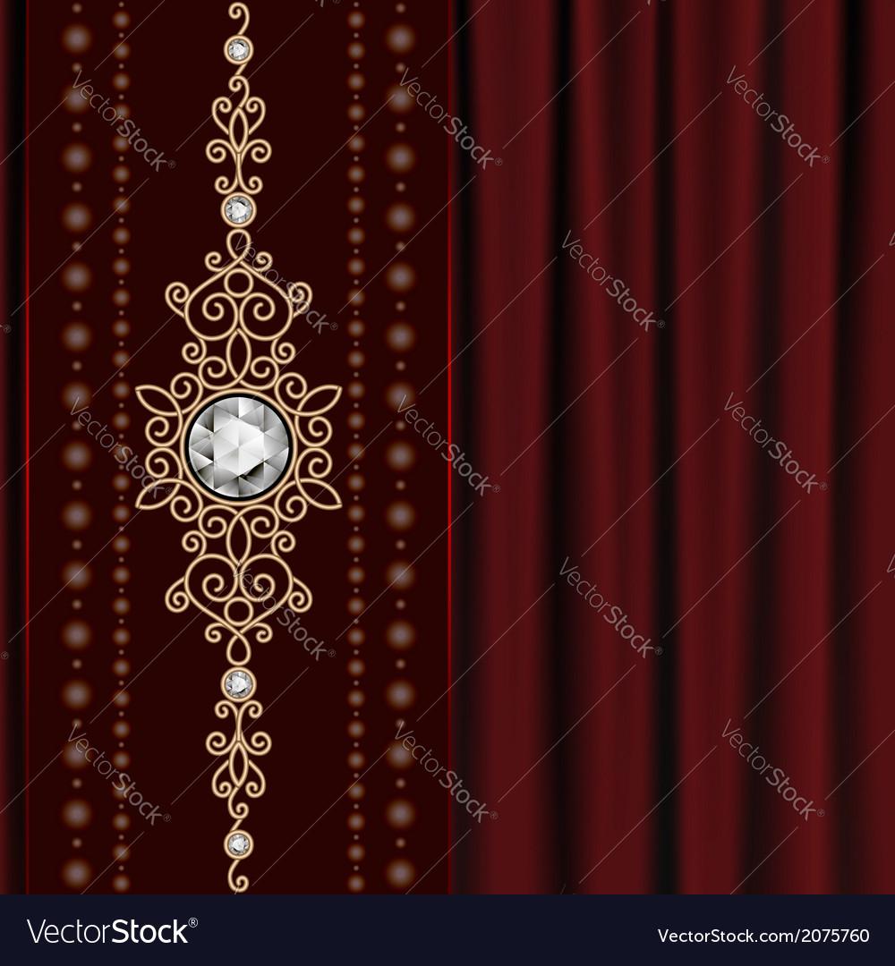 Gold jewelry on drape vector | Price: 1 Credit (USD $1)