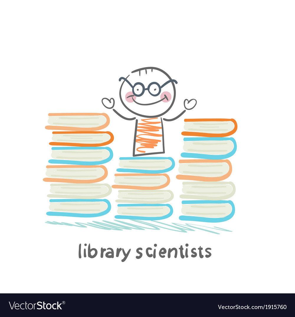 Library scientists stands near a lot of books vector | Price: 1 Credit (USD $1)