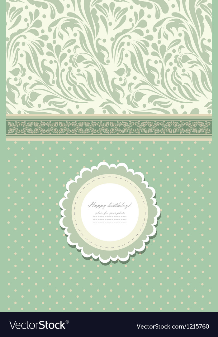 Retro fashion floral greeting card vector | Price: 1 Credit (USD $1)