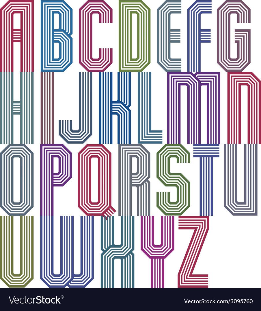 Retro stripe geometric font retro style typeface vector | Price: 1 Credit (USD $1)