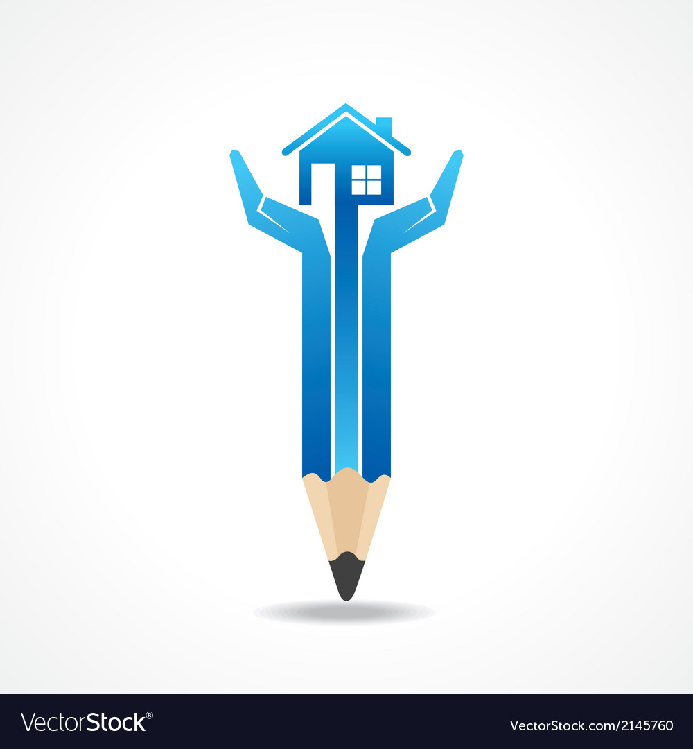 Save home concept with pencil hands vector | Price: 1 Credit (USD $1)