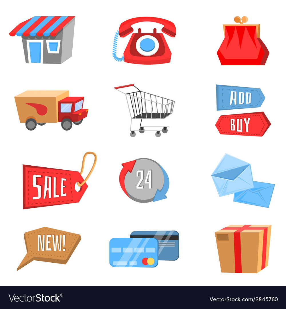 Set of flat and colorful shopping icons vector   Price: 1 Credit (USD $1)