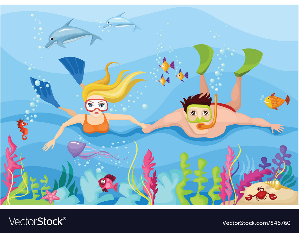 Snorkeling vector | Price: 3 Credit (USD $3)