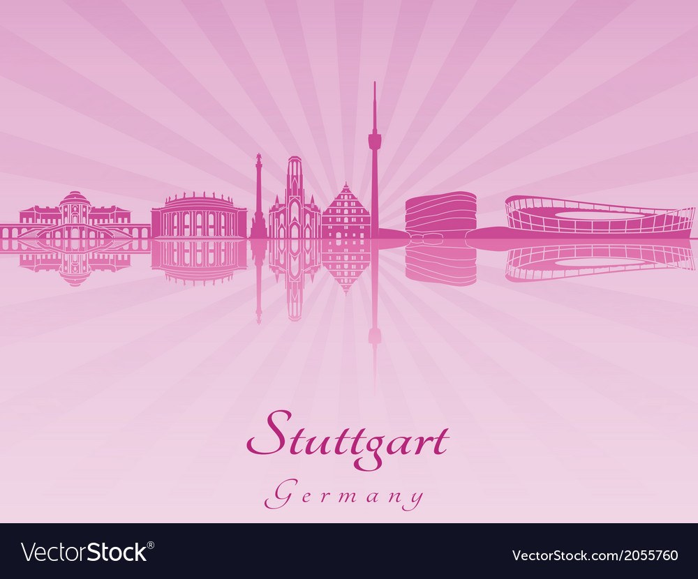Stuttgart skyline in purple radiant orchid vector   Price: 1 Credit (USD $1)