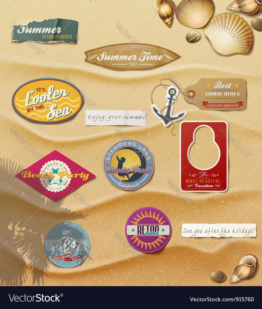 Summer design elements on sand background vector | Price: 3 Credit (USD $3)