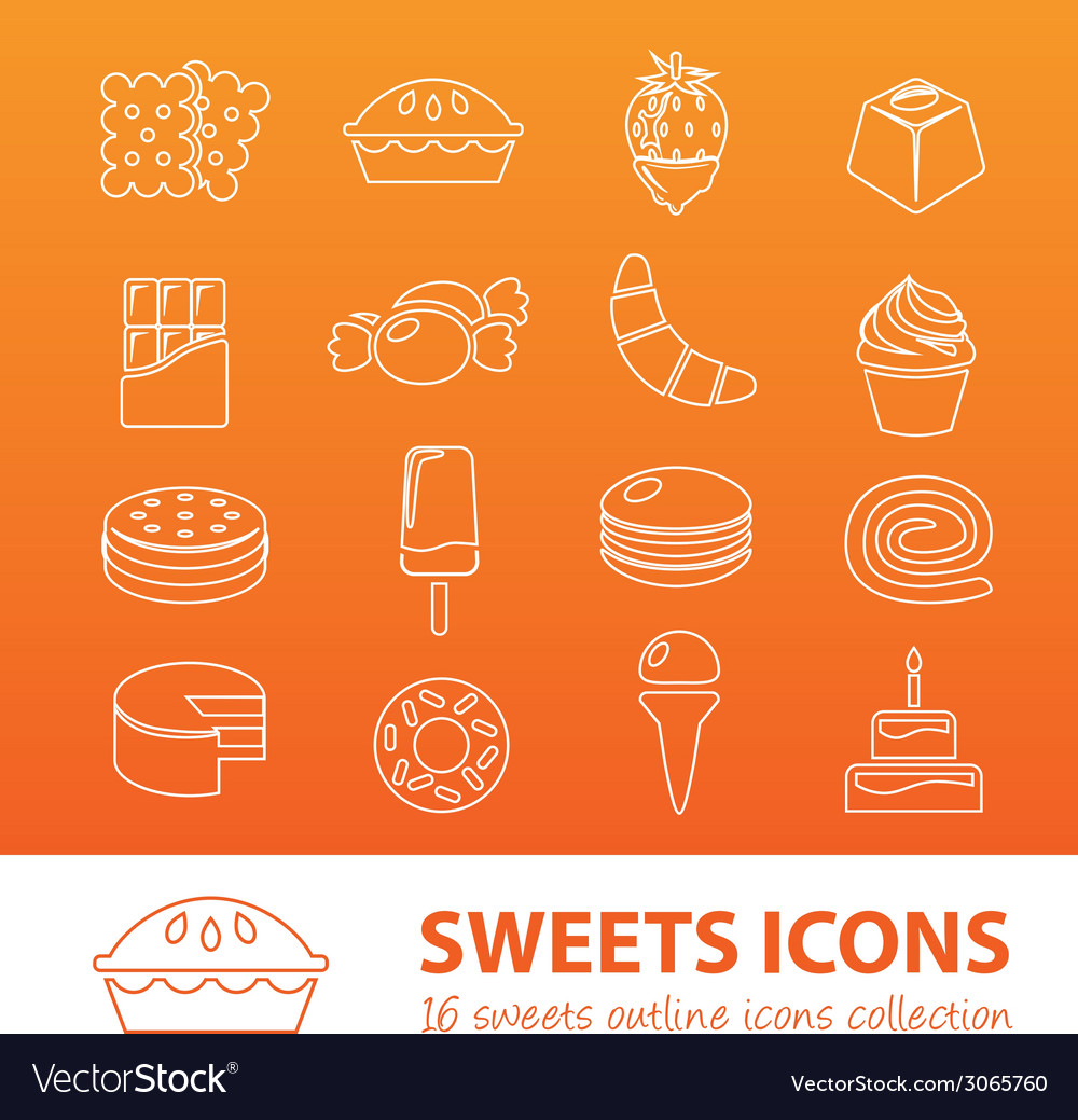 Sweets outline icons vector | Price: 1 Credit (USD $1)