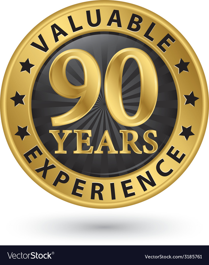 90 years valuable experience gold label vector | Price: 1 Credit (USD $1)