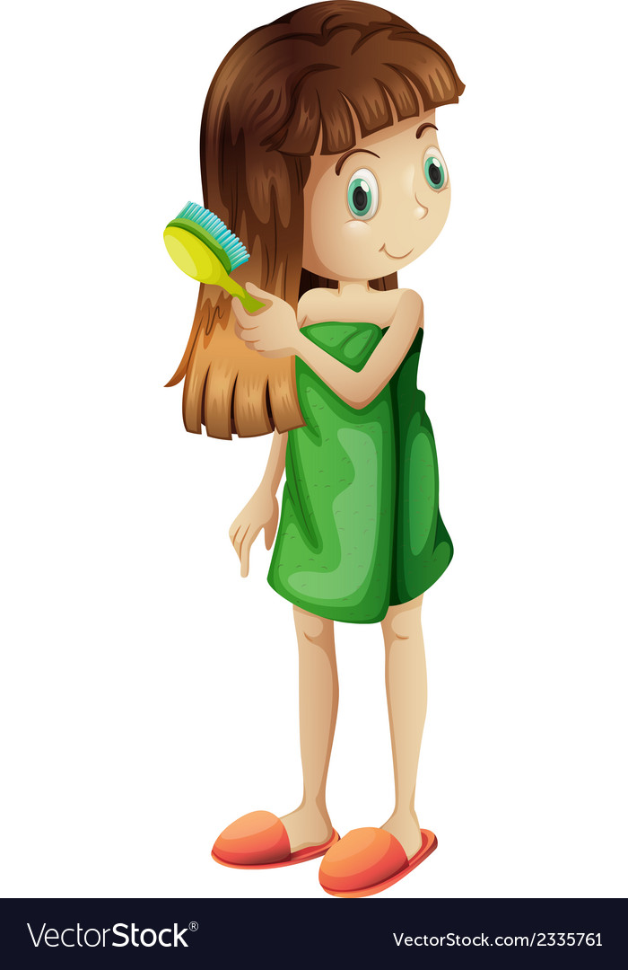 A young girl combing her long hair vector   Price: 1 Credit (USD $1)