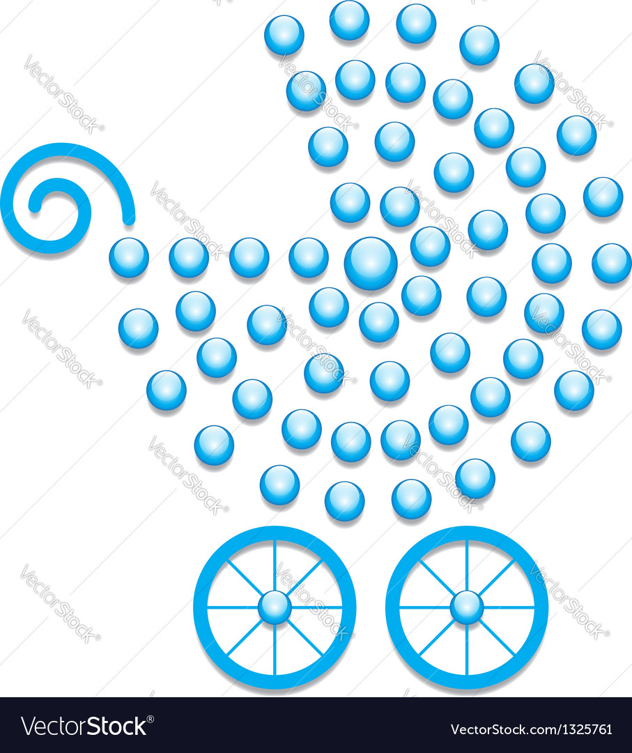 Blue pram symbol vector | Price: 1 Credit (USD $1)
