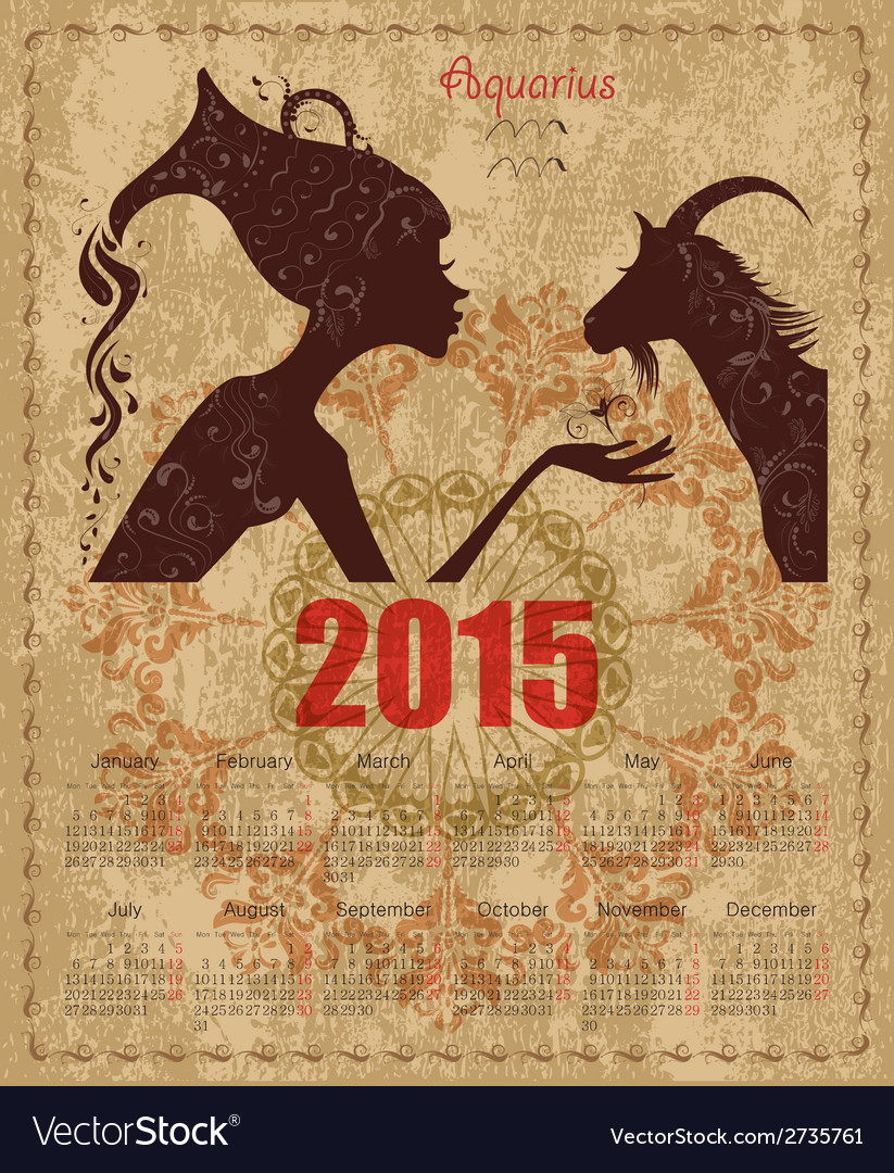 Calendar for 2015 year with a goat and zodiac sign vector | Price: 1 Credit (USD $1)