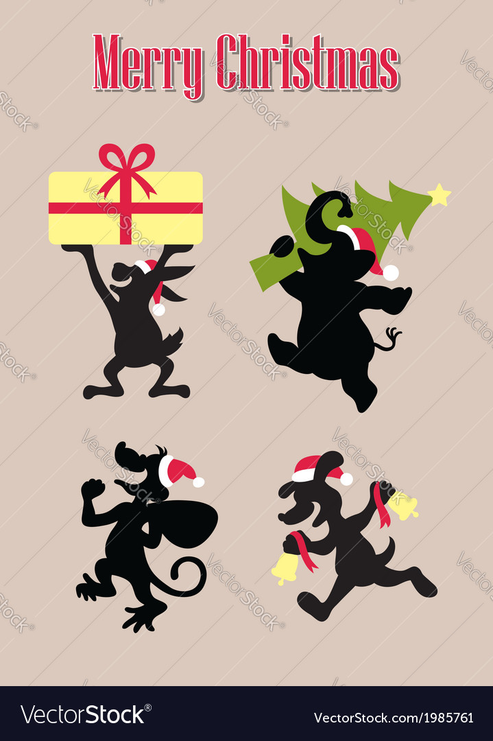 Christmas animal silhouettes vector | Price: 1 Credit (USD $1)