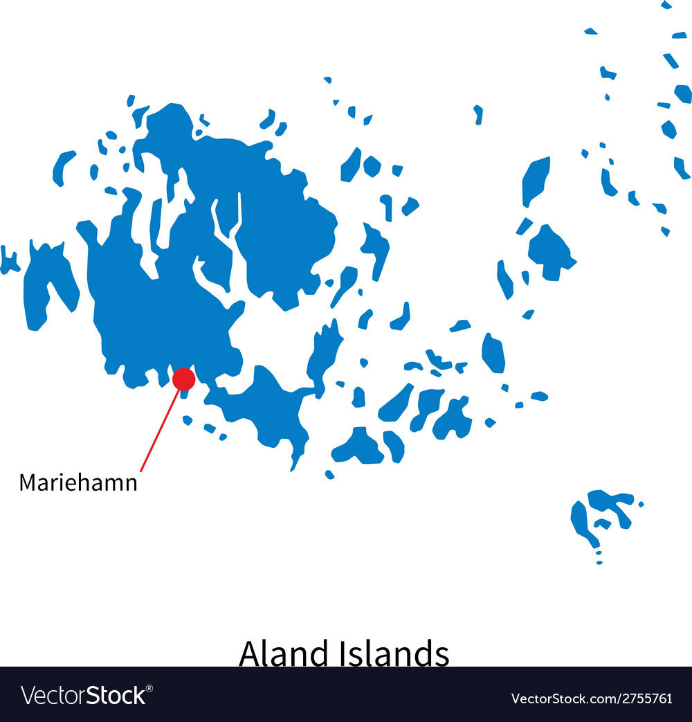 Detailed map of aland islands and capital city vector | Price: 1 Credit (USD $1)