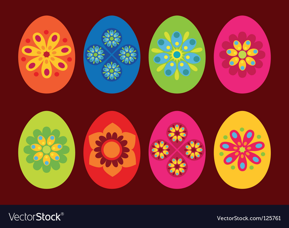 Easter eggs retro vector | Price: 1 Credit (USD $1)
