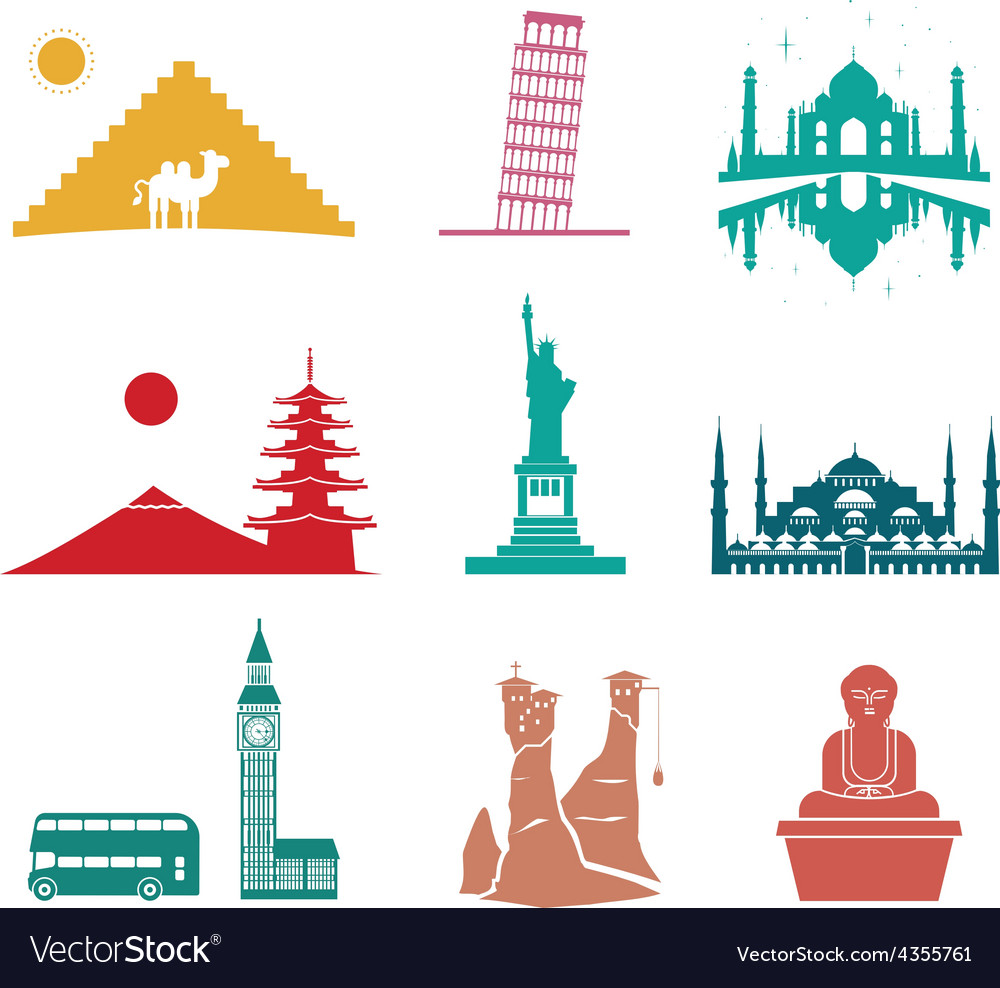 Famous monuments travel icons vector | Price: 1 Credit (USD $1)