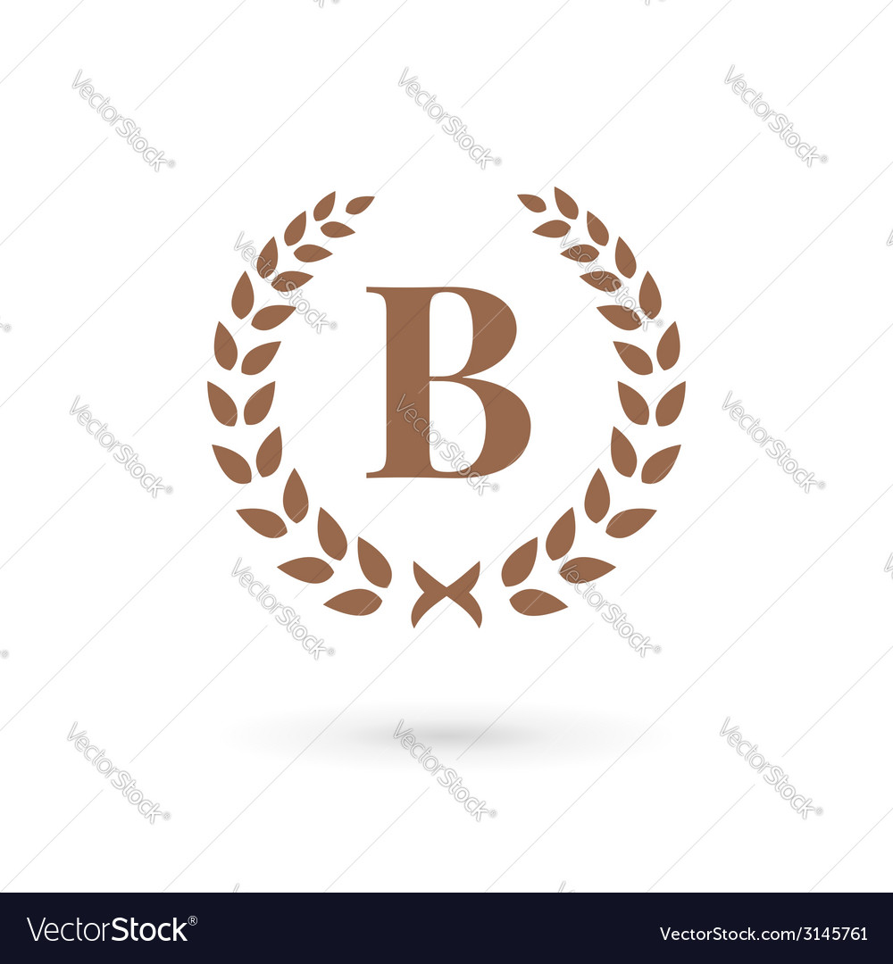 Letter b laurel wreath logo icon vector | Price: 1 Credit (USD $1)